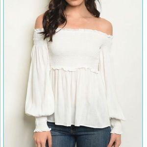 Tops - Off shoulder peasant top
